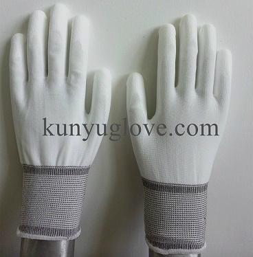 13 Guage white nylon liner with white pu coating gloves 1