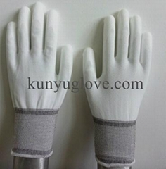13 Guage white nylon liner with white pu coating gloves