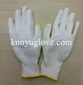 13 Guage white nylon liner with white pu coating gloves 2