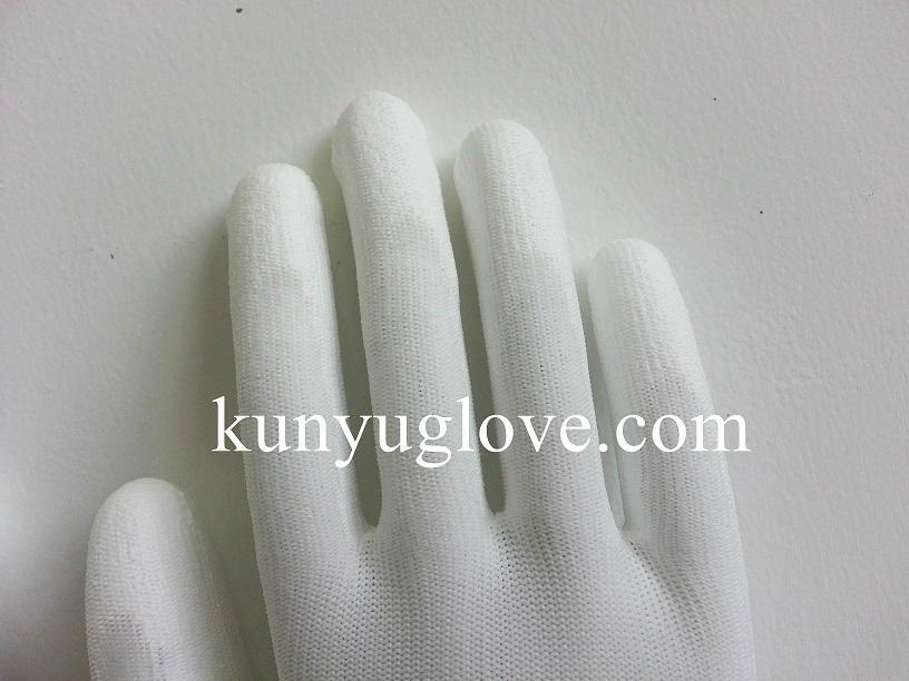 13 Guage white nylon liner with white pu coating gloves 3