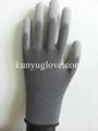 grey nylon glove,nylon PU glove