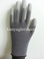 grey nylon glove,nylon PU glove ,antistatic glove