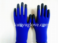 18 Guage blue nylon liner with black pu coating gloves