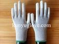 carbon yarn knitting glove with white pu