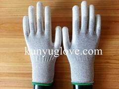 carbon yarn knitting glove with white pu coating glove