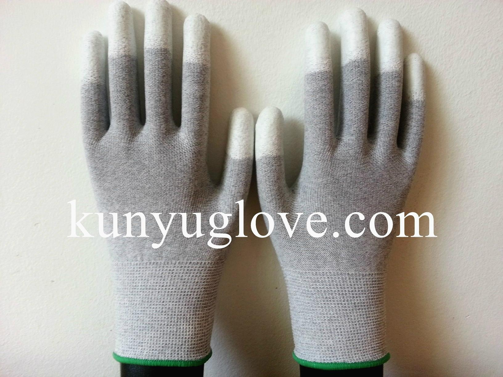 13 Guage carbon yarn knitting glove with white fingertip pu coating gloves 1
