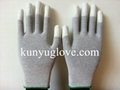13 Guage carbon yarn knitting glove with white fingertip pu coating gloves 2