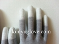 13 Guage carbon yarn knitting glove with white fingertip pu coating gloves 3