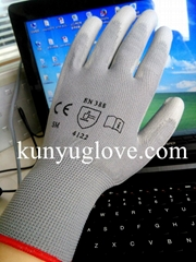 grey polyster liner with grey pu coating glove