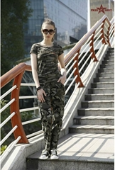 Classical military camouflage t shirt women