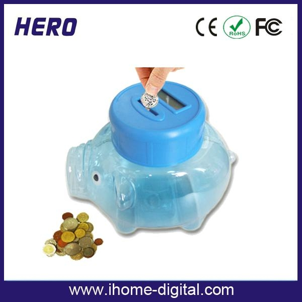 Plastic piggy bank with coin counter 4