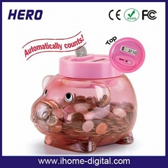 Plastic piggy bank with coin counter