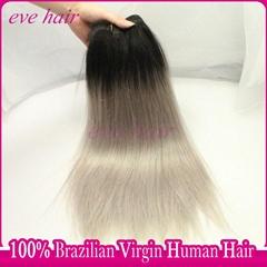 Silky Straight 1B Grey Color 100% Virgin Human Hair Weave OTSilver Hair