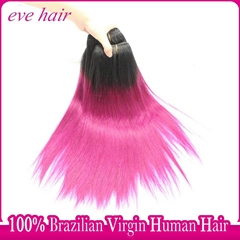 Ombre Red Hair Extension Brazilian Straight Virgin Human Hair Extension