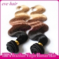 Ombre Hair Extension 3T1B3327 Body Wave 100% Virgin Human Hair Weave