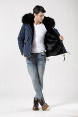 Fashionable men jackets with fur lined parka coat