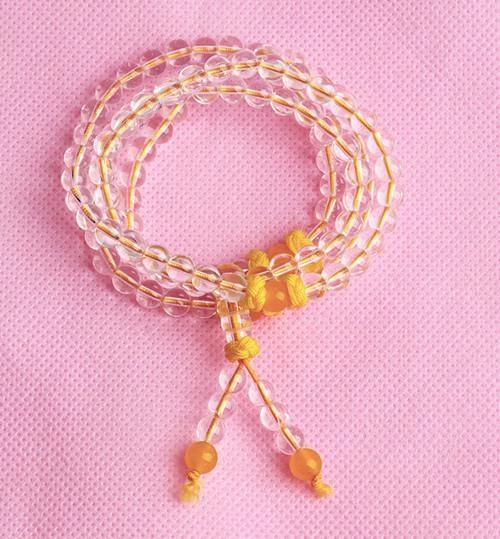 福宝天然白水晶佛珠手链 1