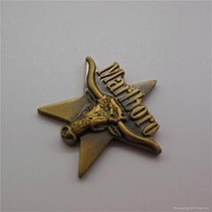 Metal Copper Badges Antique Imitation Cow Head Emblem