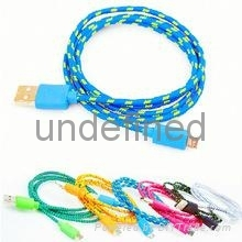 Colour Fabric Braided Micro USB Sync Charger Cable for Samsung S4 S3 HTC