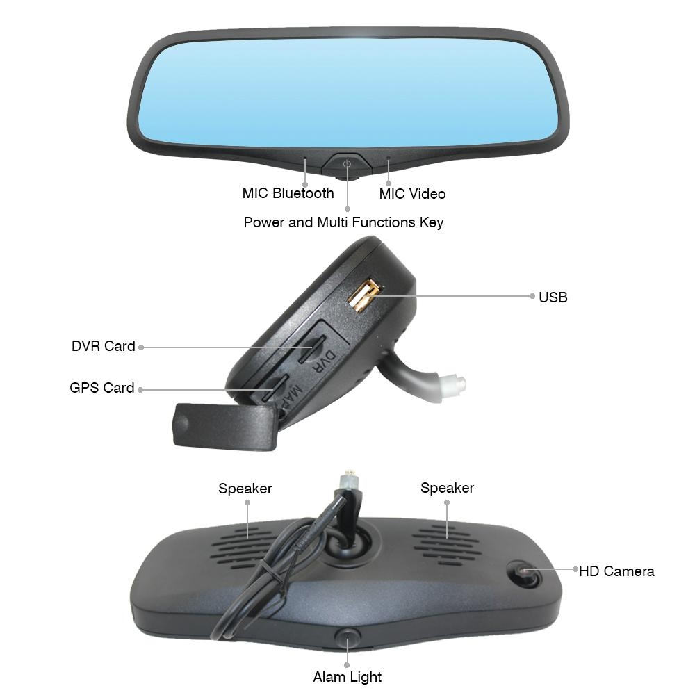 Rearview Mirror GPS Navigation with HD DVR 1