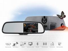 Universal 5 Inch Car Anti-glare Mirror with  FM Bluetooth Radar