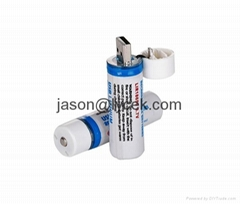 USB Rechargeable Batteries 18650 3.7V usb battery with LED Lights