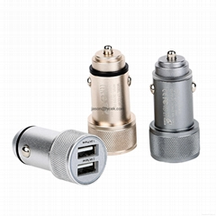 High quality Aluminum Travel Auto 5V 3.4A Dual USB Car Charger