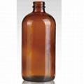 16oz amber boston round glass bottle BBQ