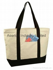 Heavy Duty Cotton Canvas Tote Bag with zipper
