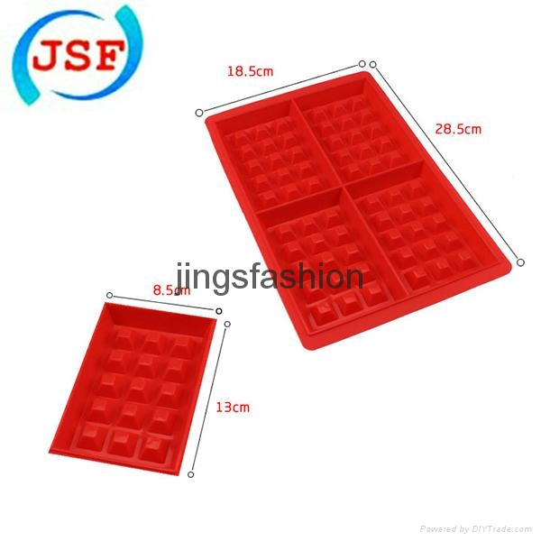 Red Silicone Square Waffle Mold Perfect Home Products Baking Molds 4