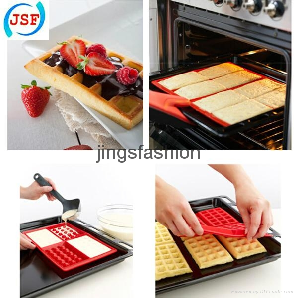 Red Silicone Square Waffle Mold Perfect Home Products Baking Molds 5