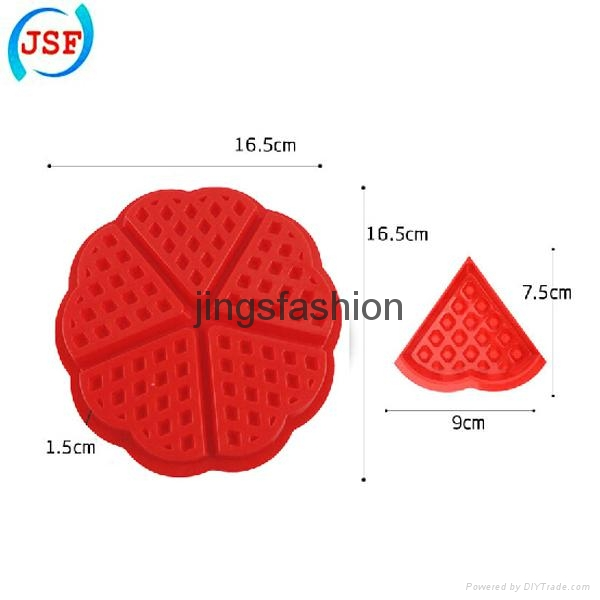 High Quality Red Silicone Round Waffle Mold Perfect Home Products 3