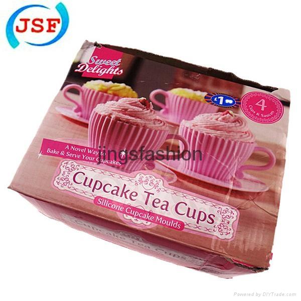 Pink Silicone Teacup Cupcake Mold Set of 8pcs 1