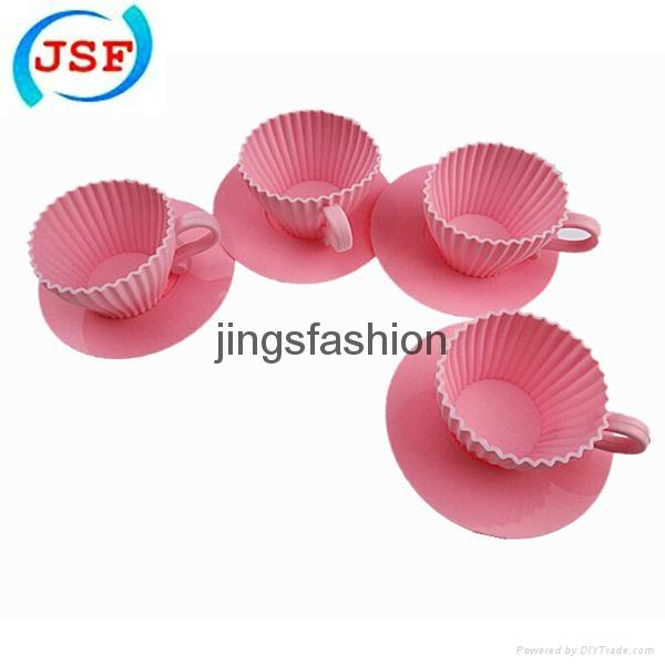 Pink Silicone Teacup Cupcake Mold Set of 8pcs 2