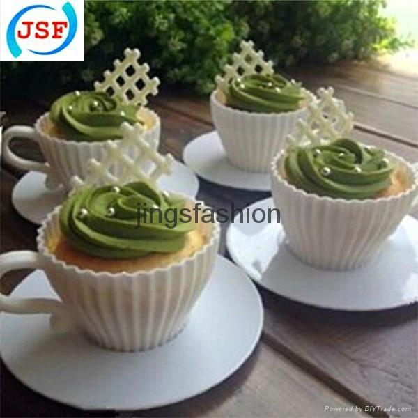 Pink Silicone Teacup Cupcake Mold Set of 8pcs 5