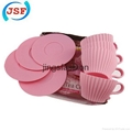 Pink Silicone Teacup Cupcake Mold Set of 8pcs 3