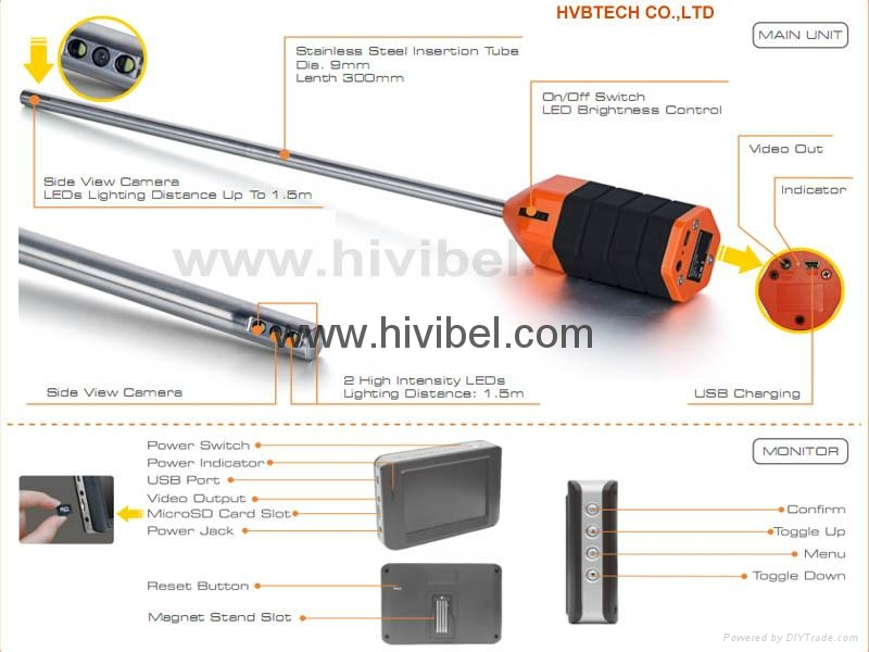 Industrial Rigid Video Endoscope Floor Ceiling Inspection Camera 3