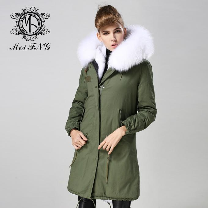 Long fur jacket with real raccoon fur for women 1