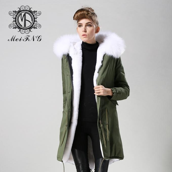 Long fur jacket with real raccoon fur for women 2