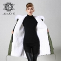 Long fur jacket with real raccoon fur for women 3