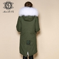 Long fur jacket with real raccoon fur for women 4