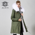 Long fur jacket with real raccoon fur for women 5