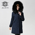 Unisex fur jacket with real fur hooded