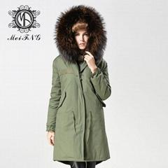 Unisex fur jacket  new design with big fur collar