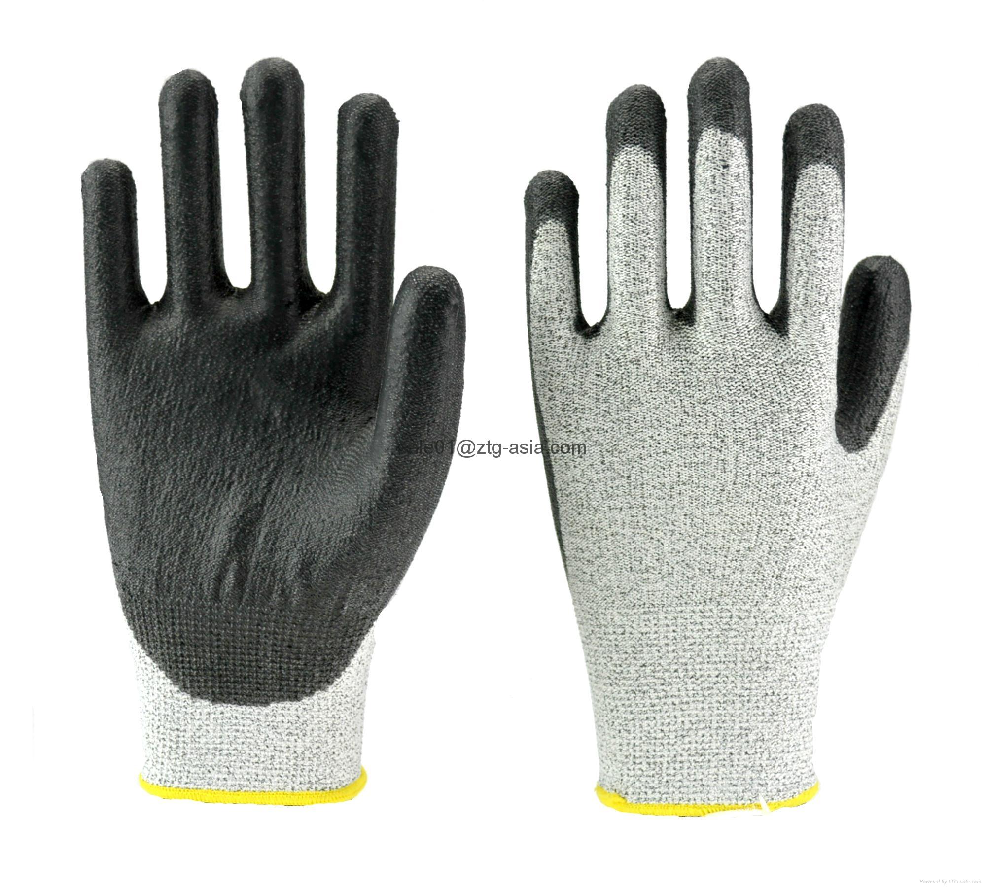 Black Anti-cut Level 5 HPPE Liner PU Palm Dip Gloves  1