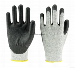 Black Anti-cut Level 5 HPPE Liner PU Palm Dip Gloves