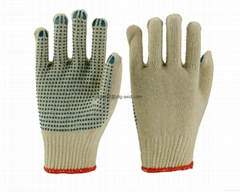 Natural Cotton String Knit Gloves with PVC Dotted