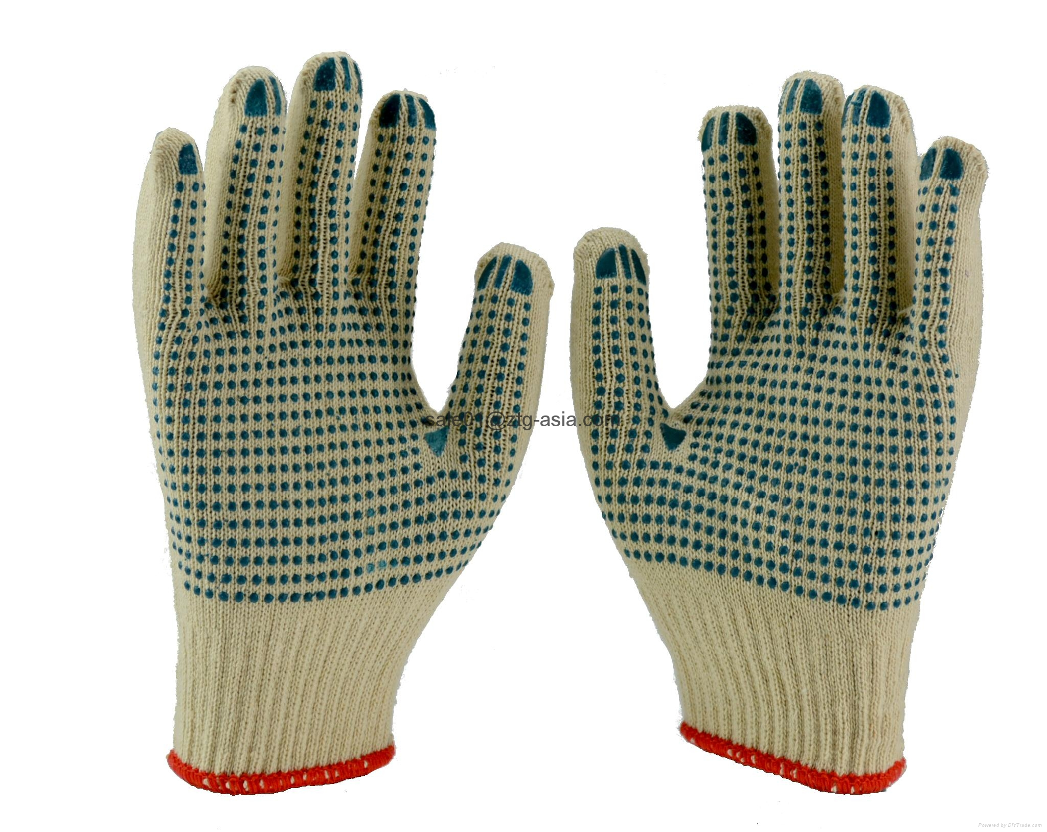Natural Cotton String Knit Gloves with PVC Dotted 2