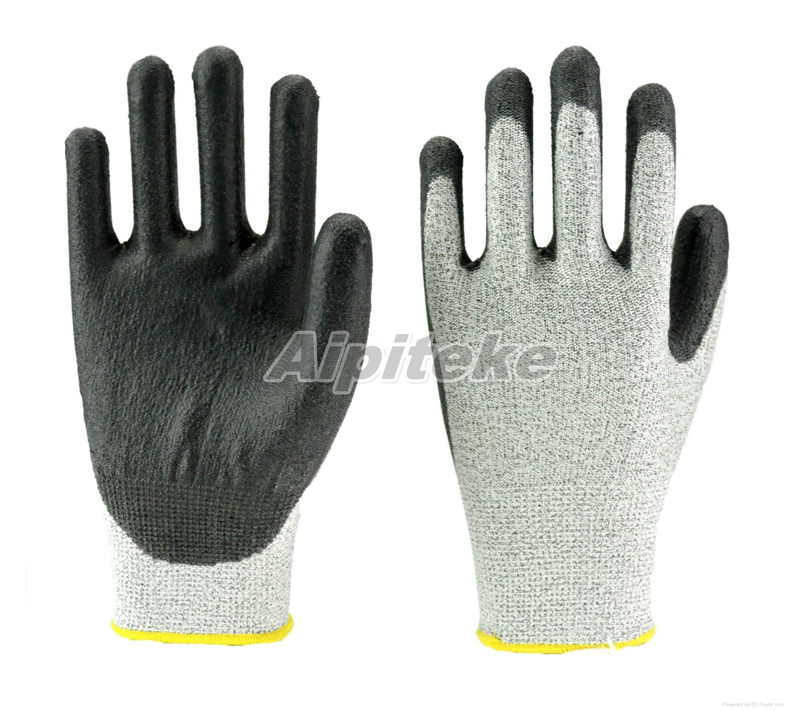 Black Anti-cut Level 5 HPPE Liner PU Palm Dip Gloves  2