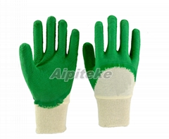Latex coated gloves on palm and knuckles with crinkle finish